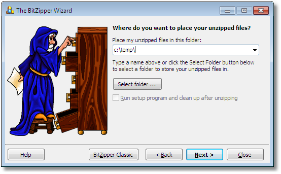 BitZipper Extraction Wizard: Select target folder