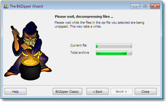 BitZipper Extraction Wizard: Wait while extracting