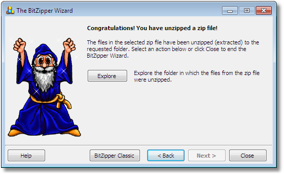 BitZipper Extraction Wizard: Extraction complete!