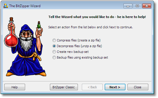 BitZipper Wizard selection screen