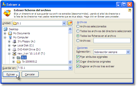 Select where to store the files extracted from the RAR file